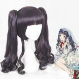 55cm Long Curly Dark Purple Card Captor Sakura Tomoyo Wig Synthetic Anime Cosplay Wigs+2Ponytails CS-361A