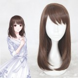 45cm Medium Long Brown Game Love and Producer Heroine Wig Synthetic Anime Cosplay Wig CS-357E