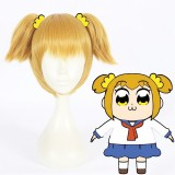 30cm Short Blonde POP Team Epic Popuko Wig Cosplay Synthetic Anime Cosplay Hair Wig+2Ponytails CS-363B