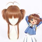 40cm Medium Long Card Captor Sakura Kinomoto Sakura Wig Synthetic Anime Cosplay Wig Two Ponytails Wig CS-362A