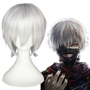 35cm Short Silver White Tokyo Ghoul Wigs Kaneki Ken Synthetic Anime Hair Cosplay Wigs CS-195A