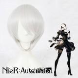 35cm Short Silvr Gray NieR:Automata 2B Wig Synthetic Party Hair Wig Anime Cosplay Wigs CS-327B