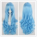 80cm Long Wave Blue Date A Live Wig Synthetic Anime Hair Cosplay Costume Wigs CS-034D