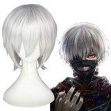 35cm Short Silver White Tokyo Ghoul Wigs Kaneki Ken Synthetic Anime Hair Cosplay Wigs CS-195A