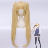 70cm Long Blonde Saenai Heroine no Sodatekata Eriri Spencer Sawamura Wig Synthetic Anime Cosplay Wig 2Ponytails Wig CS-236D