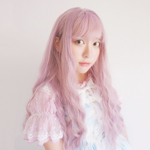 65cm Long Curly Pink&Purple Mixed Synthetic Party Wig Heat Resistant Anime Cosplay Lolita Wig CS-816A