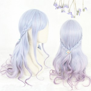 65cm Long Wave Blue&Purple Mixed Synthetic Party Hair Wigs Heat Resistant Anime Cosplay Lolita Wig CS-810A