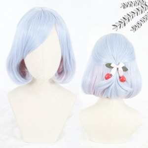 35cm Short Curly Blue Mixed Synthetic Party Hair Wigs Heat Resistant Anime Cosplay Lolita Wig CS-815A