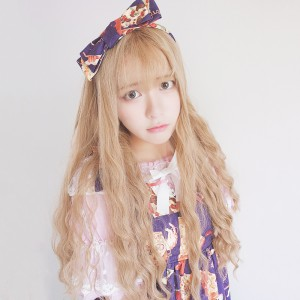 65cm Long Curly Flaxen Synthetic Fashion Hair Wig Heat Resistant Anime Cosplay Lolita Wig CS-818A