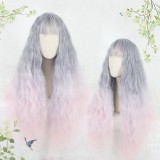 80cm Long Wave Gray&Pink Mixed Synthetic Party Hair Wigs Heat Resistant Anime Cosplay Lolita Wig CS-811A