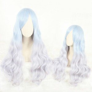80cm Long Curly Blue&Gray Mixed Synthetic Party Hair Wigs Heat Resistant Anime Cosplay Lolita Wig CS-809A