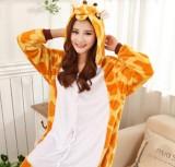 Adult Cartoon Flannel Unisex Giraffe Animal Onesies Anime Kigurumi Costume Pajamas Sets KT010