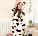 Adult Cartoon Flannel Unisex Black Cow Animal Onesies Anime Kigurumi Costume Pajamas Sets KT004