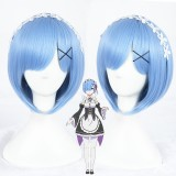 35cm Short Blue Life in a Different World From Zero Rem Wig Synthetic Anime Cosplay Costume Wig CS-288D