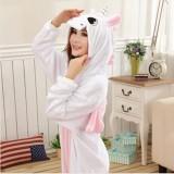 Adult Cartoon Flannel Unisex Pink Unicorn Animal Onesies Anime Kigurumi Costume Pajamas Sets KT019