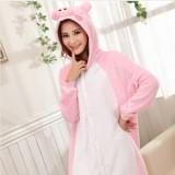 Adult Cartoon Flannel Unisex Pink Pig Animal Onesies Anime Kigurumi Costume Pajamas Sets KT002