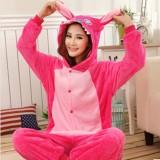 Adult Cartoon Flannel Unisex Rose Stitch Animal Onesies Anime Kigurumi Costume Pajamas Sets KT006