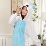 Adult Cartoon Flannel Unisex Blue Unicorn Animal Onesies Anime Kigurumi Costume Pajamas Sets KT018