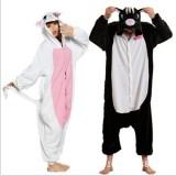 Adult Cartoon Flannel Unisex White&Black Cat Animal Onesies Anime Kigurumi Costume Pajamas Sets KT045