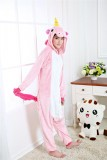 Adult Cartoon Flannel Unisex Pink Flying Horse Animal Onesies Anime Kigurumi Costume Pajamas Sets KT077