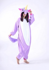 Adult Cartoon Flannel Unisex Purple Flying Horse Animal Onesies Anime Kigurumi Costume Pajamas Sets KT076