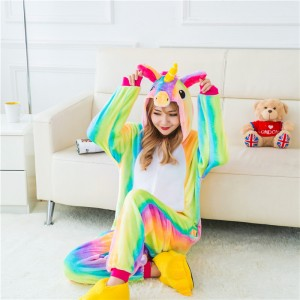 Adult Cartoon Flannel Unisex Rainbow Flying Horse Animal Onesies Anime Kigurumi Costume Pajamas Sets KT089
