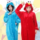 Adult Cartoon Flannel Unisex Blue&Red Cookie Monster Onesie Animal Onesies Anime Kigurumi Costume Pajamas Sets KT090