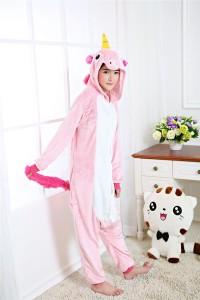 Adult Cartoon Flannel Unisex Pink Flying Horse Animal Onesies Anime Kigurumi Costume Pajamas Sets KT077