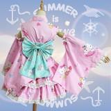 2017 New Pink Hellokittty&Blue Horse Dress Cotton Halloween Party Anime Cosplay Costume Lolita Dress COS-176