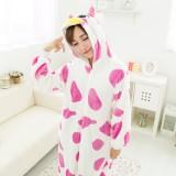 Adult Cartoon Flannel Unisex Pink Cow  Animal Onesies Anime Kigurumi Costume Pajamas Sets KT073
