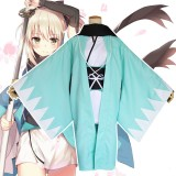 Fate/Grand Order Cosplay Okita Souji Costume Green Kimono Saber Anime Cosplay Costume COS-196