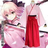 Fate/Grand Order Saber Cosplay Costume Okita Souji Costume Pink Kimono Anime Costume COS-197