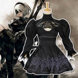 Nier Automata 2B Cosplay Costume YoRHa No 2 Type B Costumes Women Black Dress With Patch Glove Full Set COS-193