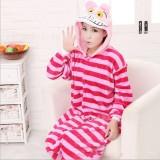 Adult Cartoon Flannel Unisex Cheshire Cat Animal Onesies Anime Kigurumi Costume Pajamas Sets KT065