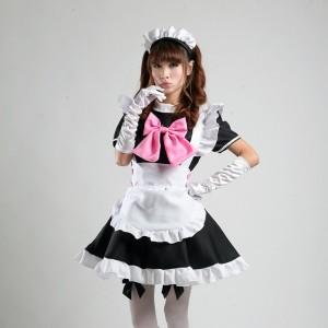 Black Sexy Japanese Halloween Costumes Lolita Maid Princess Dress