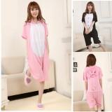 Adult Cartoon Cotton Unisex Pink&Black Pig Summer Onesie Anime Kigurumi Costumes Pajamas Sets ST005