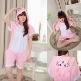 Adult Cartoon Cotton Unisex Pink Hellokitty Summer Onesie Anime Kigurumi Costumes Pajamas Sets ST004