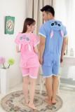 Adult Cartoon Cotton Unisex Blue&Pink Stitch Summer Onesie Anime Kigurumi Costumes Pajamas Sets ST014