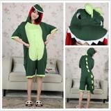 Adult Cartoon Cotton Unisex Green Dinosaur Summer Onesie Anime Kigurumi Costumes Pajamas Sets ST017