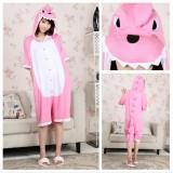 Adult Cartoon Cotton Unisex Pink Dinosaur Summer Onesie Anime Kigurumi Costumes Pajamas Sets ST016