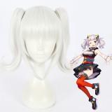 40cm Short Silver White Virtual YouTuber Wig Kizuna Ai Hair Synthetic Anime Cosplay Wigs 2Ponytails Wig CS-374A