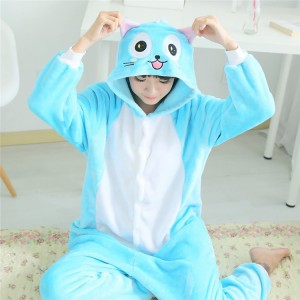 Adult Cartoon Flannel Unisex Happy Cat Onesie Animal Onesies Anime Kigurumi Costume Pajamas Sets KT094