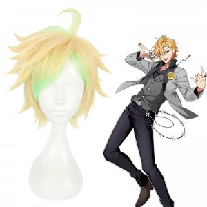 30cm Short Blonde Green Mixed Hypnosis Mic Hifumi Izanami Wig Synthetic Anime Cosplay Wigs CS-383H