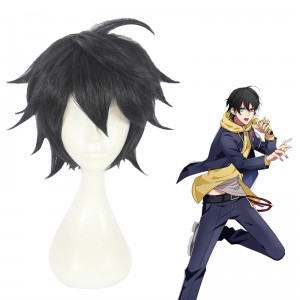 30cm Short Black Hypnosis Mic Yamada Saburo Wig Cosplay Synthetic Anime Hair Wigs CS-383F