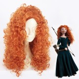 55cm Long Wave Orange Brave Anime Merida Princess Wig Synthetic Cosplay Hair Wigs CS-385A