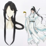 100cm Long Straight Black Grandmaster of Demonic Cultivation Lan Sizhui Synthetic Anime Cosplay Wig One Ponytail CS-387A