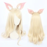 70cm Long Curly Light Blonde League of Legends LOL KDA Ahri Wig Synthetic Anime Cosplay Wigs With Ears CS-119L