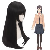60cm Long Straight Black Bloom Into You Nanami Touko Wig Synthetic Anime Cosplay Wigs CS-390A