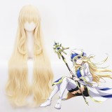 100cm Long Curly Light Blonde Goblin Slayer Priestess Wig Synthetic Anime Cosplay Wigs CS-391A