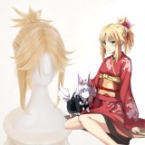 35cm Short Light Blonde Fate/Apocrypha Mordred Wig Synthetic Anime Cosplay Wigs One Ponytail CS-395A